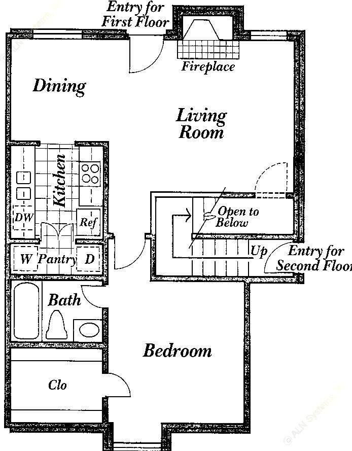 610 sq. ft. D floor plan