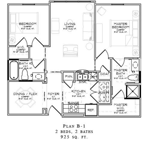 925 sq. ft. B1/60% floor plan
