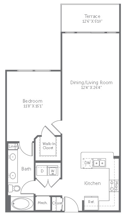 869 sq. ft. A7 floor plan