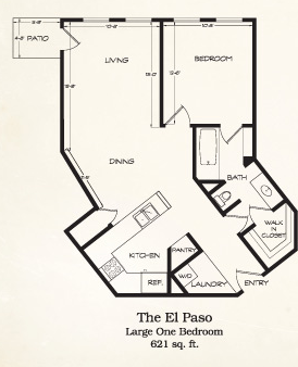 621 sq. ft. El Paso floor plan
