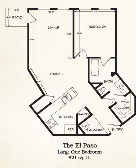 621 sq. ft. El Paso floor plan