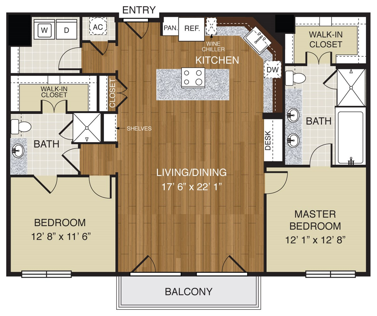 751 sq. ft. A3.1b floor plan