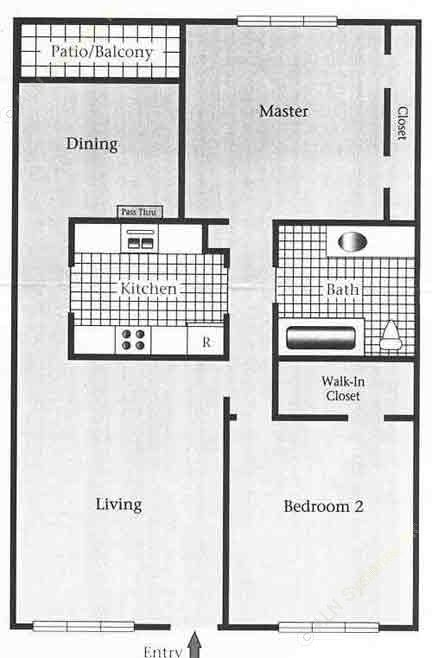 948 sq. ft. C/60% floor plan
