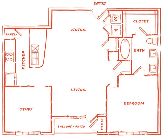 1,009 sq. ft. A7 floor plan