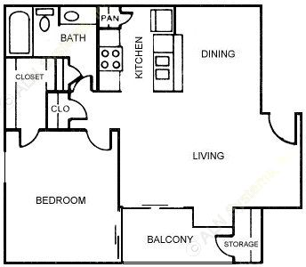 641 sq. ft. Thyme floor plan