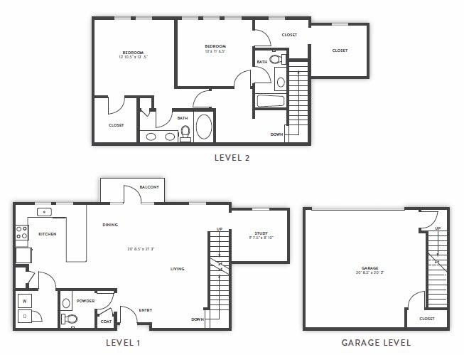 1,859 sq. ft. TH2 floor plan