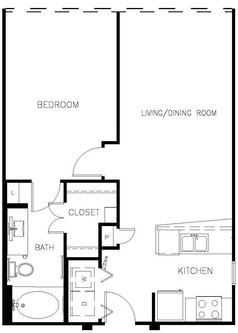 673 sq. ft. A0 floor plan