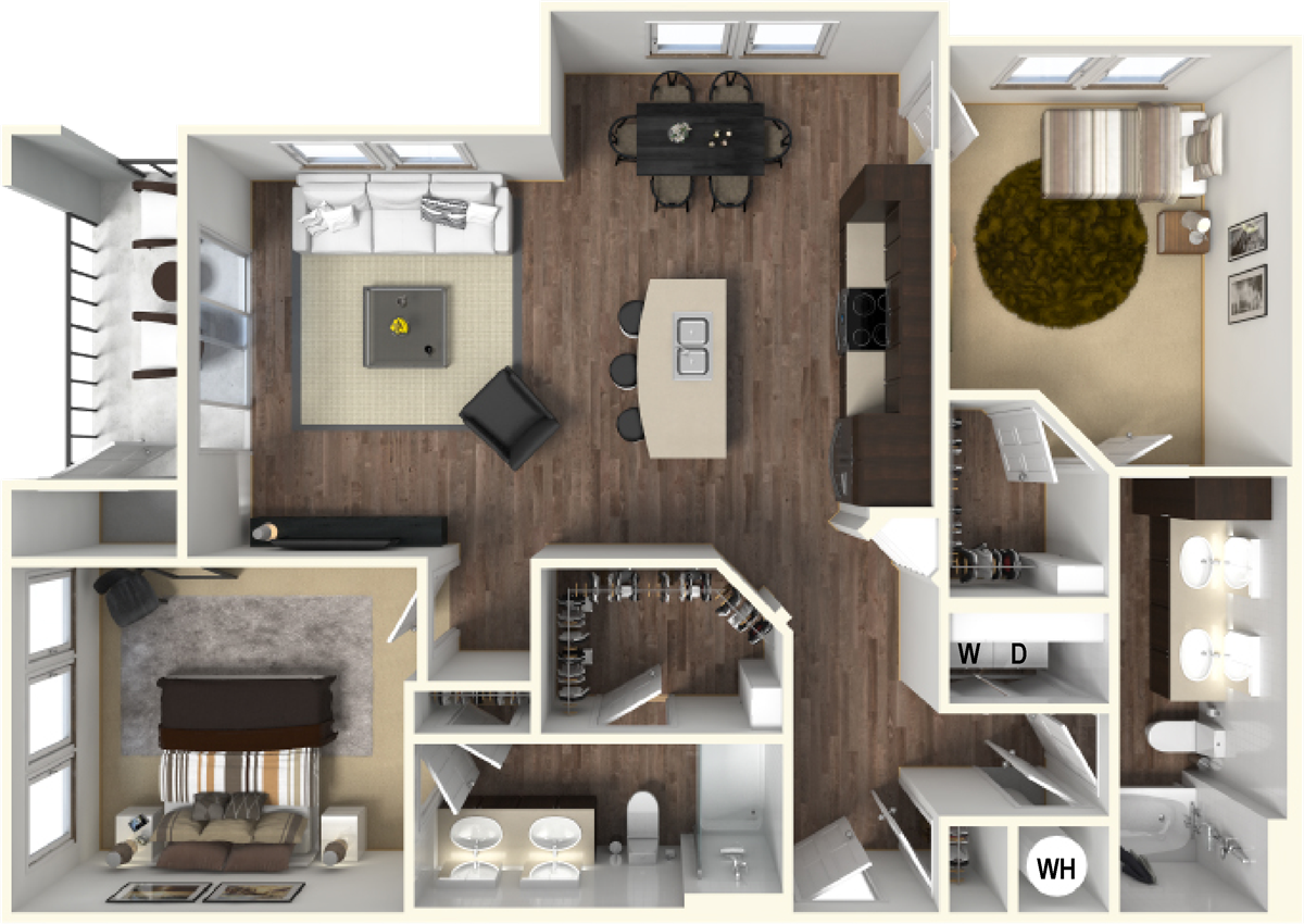 1,196 sq. ft. B4 floor plan