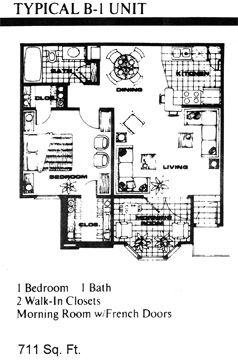 711 sq. ft. B1 floor plan