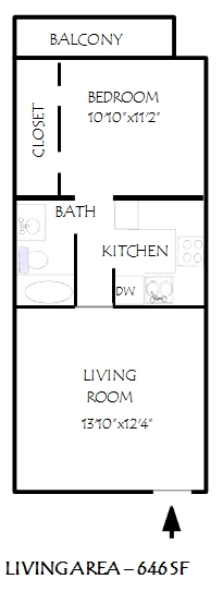 646 sq. ft. Fairhaven floor plan