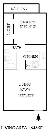 646 sq. ft. Fairhaven floor plan
