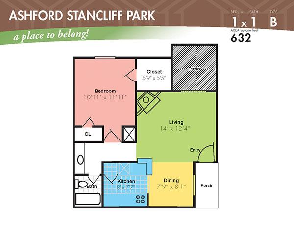 632 sq. ft. B floor plan