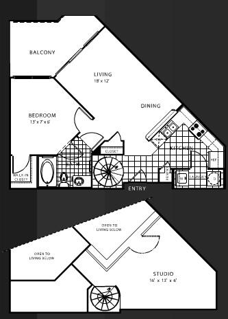 895 sq. ft. B2 floor plan