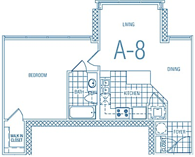 662 sq. ft. A8 60% floor plan