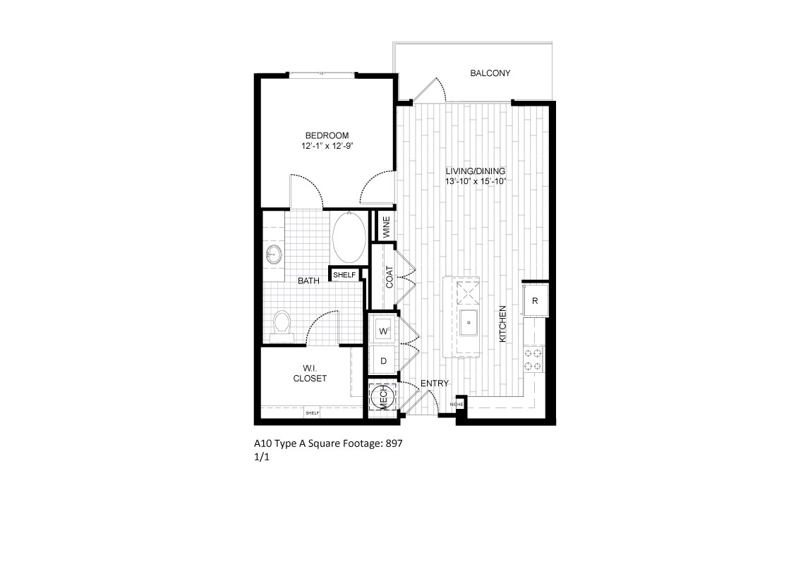 897 sq. ft. A10A floor plan