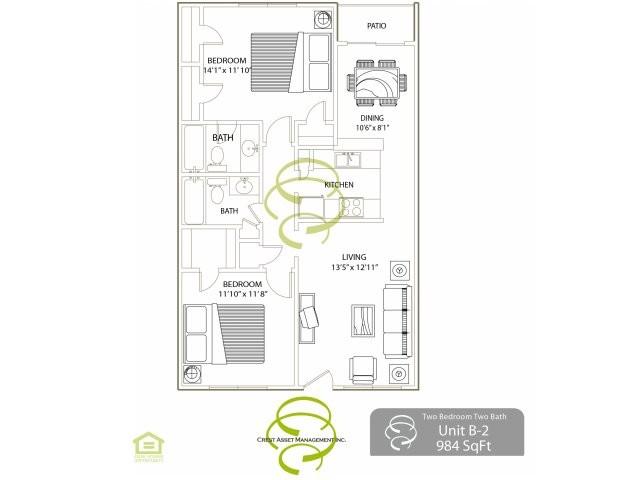 984 sq. ft. B2 floor plan