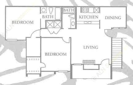 970 sq. ft. B-2 floor plan