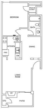 645 sq. ft. A3 floor plan