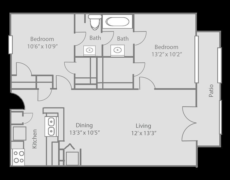 859 sq. ft. ASHFORD floor plan
