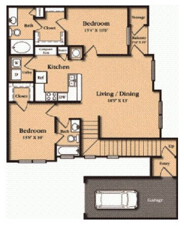 1,103 sq. ft. B2 floor plan