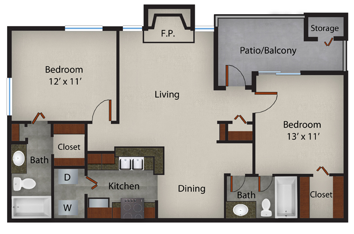893 sq. ft. to 901 sq. ft. Sage  fp floor plan