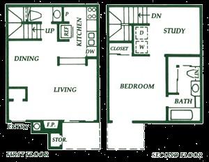776 sq. ft. A2 floor plan