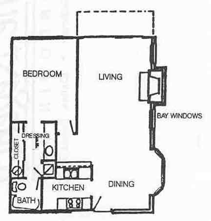 735 sq. ft. A-2 floor plan