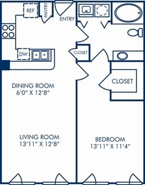 732 sq. ft. II/A2 floor plan