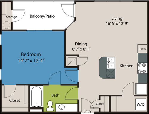791 sq. ft. A4 floor plan