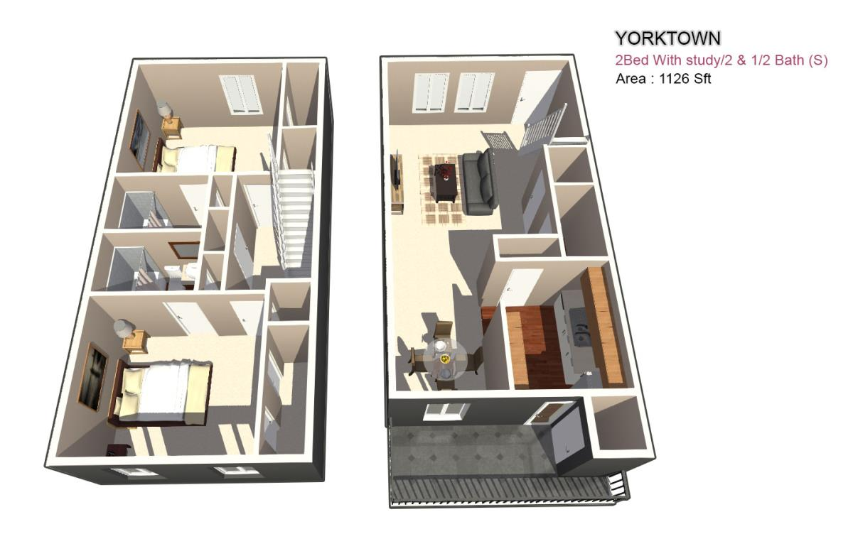 1,285 sq. ft. 1X1 floor plan