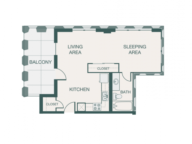 550 sq. ft. V floor plan