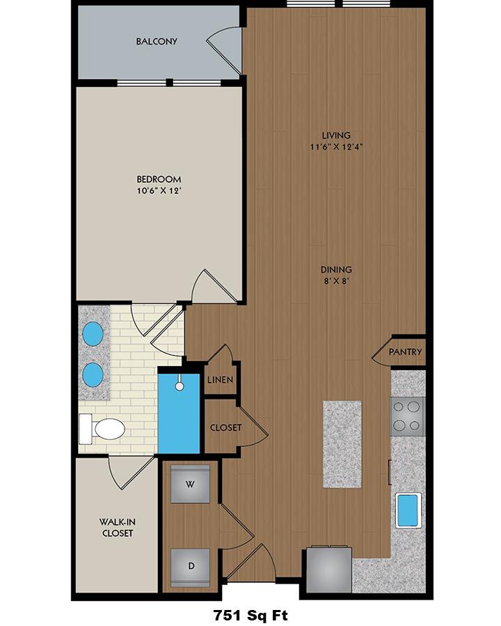 708 sq. ft. Edison floor plan