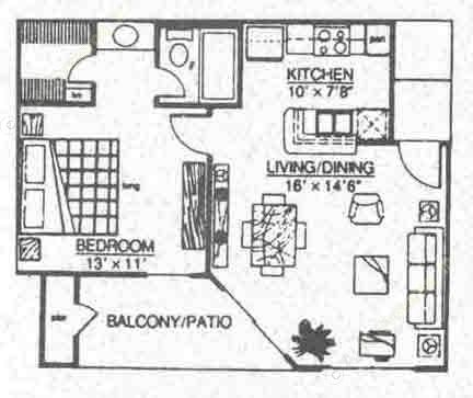 569 sq. ft. A1 floor plan