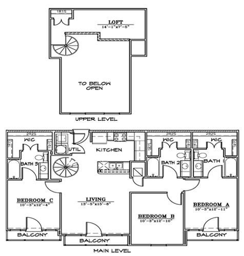 1,323 sq. ft. C2L floor plan