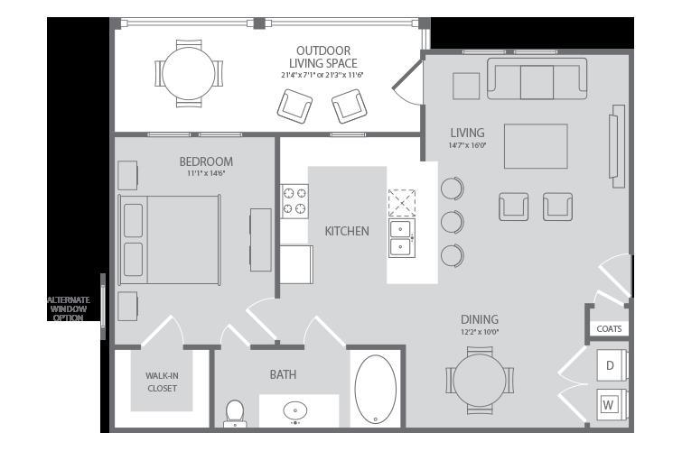 804 sq. ft. Dolphin floor plan