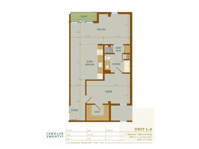 975 sq. ft. L2 floor plan