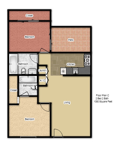 1,080 sq. ft. C floor plan