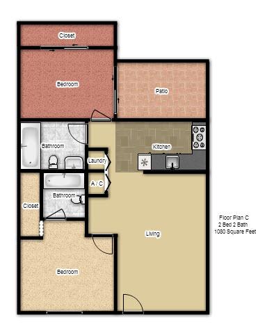 1,080 sq. ft. C floor plan