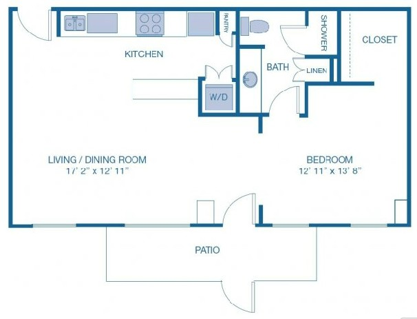 943 sq. ft. L6 floor plan