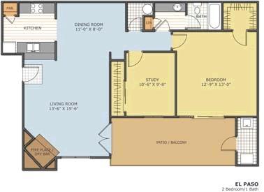 819 sq. ft. El Paso floor plan