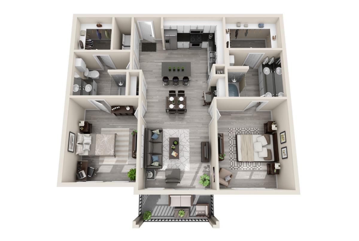 1,063 sq. ft. Dubai floor plan