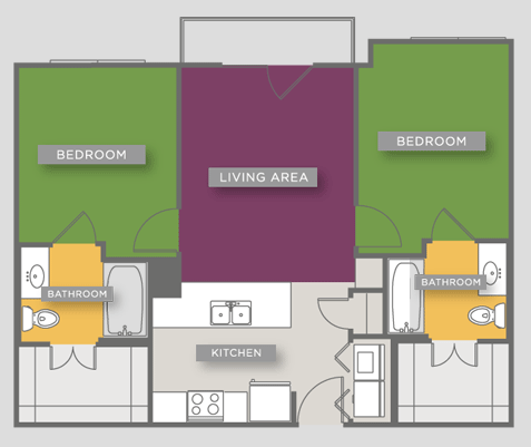 769 sq. ft. B1Alt floor plan