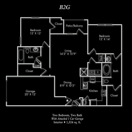 1,324 sq. ft. BG2 floor plan
