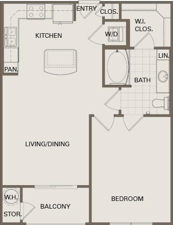 680 sq. ft. A3 Mkt floor plan
