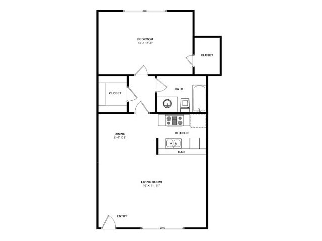 565 sq. ft. A2 floor plan