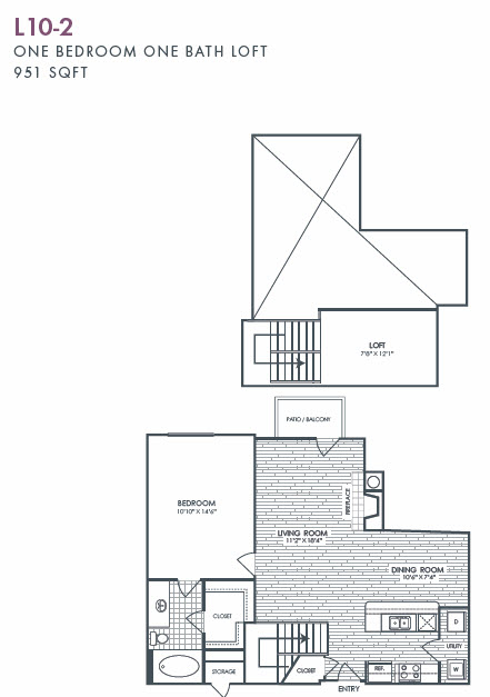 951 sq. ft. L10-2 floor plan
