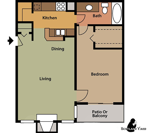 656 sq. ft. A4 floor plan