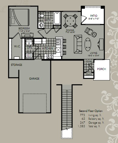 726 sq. ft. Axis floor plan