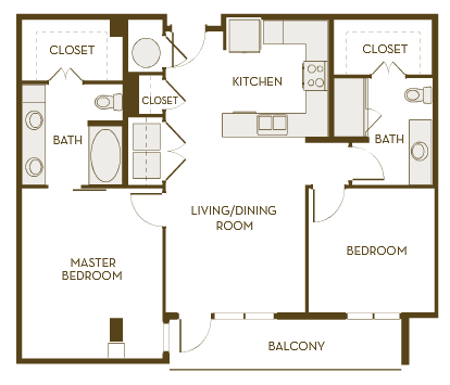 1,036 sq. ft. B2A floor plan