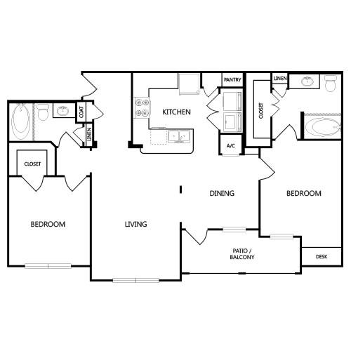 1,236 sq. ft. B3 floor plan
